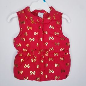 Healthtex Red Puffer Vest with Gold Foil Bows 12mo